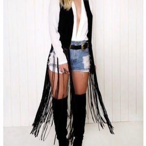 Last Kiss faux leather long fringe black vest